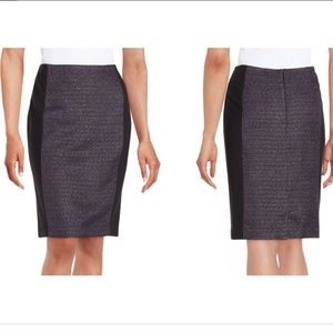 Laundry Metallic Tweed-paneled Jersey Skirt